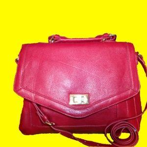Forever 21 Red Vegan Pebbled Leather Satchel Bag